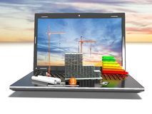 Planlägga av projektet Attraktioner och bärbar dator Begreppet 3d framför Arkivbild