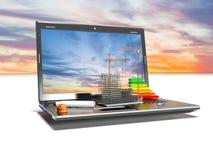 Planlägga av projektet Attraktioner och bärbar dator Begreppet 3d framför Royaltyfria Bilder