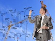 Planlägga för teknikkonstruktion Arkivfoto