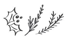 Planlägger dekorativa filialbeståndsdelar för jul blom- sidor i scandinavian stil Vektorhanddrawillustration för xmas vektor illustrationer