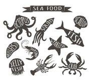 Planlägger den havs- handen drog vektorillustrationer som isoleras på vit bakgrund, beståndsdelar för restaurangmeny, dekoren, et Arkivfoton