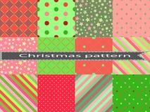 Planlägger den sömlösa modellen för fastställda vinterblått med små cirklar och prickar för jul vita röda stjärnor för abstrakt f royaltyfri illustrationer