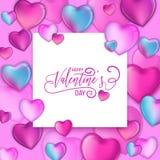 planlägger färgrika hjärtor 3d för den lyckliga dragen bokstäver för valentindag handen, förälskelsekortillustrationen, reklambla vektor illustrationer