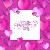 planlägger färgrika hjärtor 3d för den lyckliga dragen bokstäver för valentindag handen, förälskelsekortillustrationen, reklambla stock illustrationer