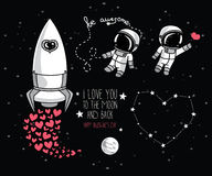 Planlägger kosmiska beståndsdelar för det gulliga klottret för valentins dag Royaltyfri Bild