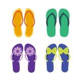 Planlägger kvinnligt mångfärgat för häftklammermatare som isoleras på vita tillfälliga sommarskodonpar, vektorn stock illustrationer
