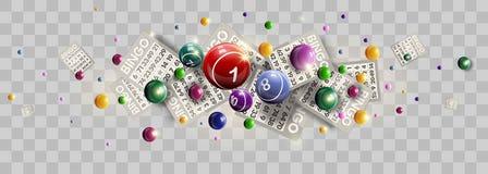 Planlägger lyckliga bollar för Bingolottsedel och nummer av lottovektorn vektor illustrationer