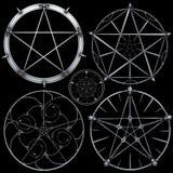 planlägger pentagram royaltyfri illustrationer