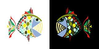 Planlägger rånar ilsken fisk som två ser de på svart vit bakgrund för T-tröja, bordsserviser, och textiler royaltyfri illustrationer