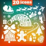 Planlägger samlingen för glad jul för vektorn, packesymboler för det nya året, klotterbeståndsdelen för jul Uppsättning av kontur Arkivbild