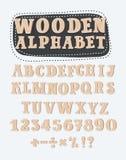 Planlägger träalfabetet för gammal Grunge, vektoruppsättningen med alla bokstäver som, är klara för ditt textmeddelande, titeln e royaltyfri illustrationer