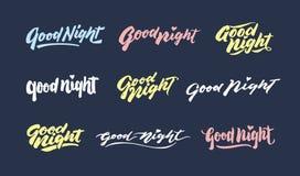 planlägger uttryck för hälsning för typografi för bokstäver för hand för tappning för ` för bra natt för ` Fotografering för Bildbyråer