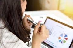 Planläggning för affärsstrategi, dokument för data för granskning för affärskvinnor arkivfoton