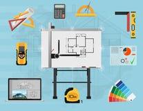 Planläggning för arkitektPanel bräde och skapaprocess med yrkesmässiga hjälpmedel stock illustrationer