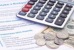 Planläggning för hushållbudget Arkivfoton