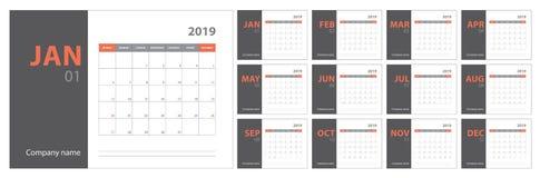 planläggning för 2019 kalender Engelsk stadsplanerare Mall för vektor för Ð-¡ olor stock illustrationer