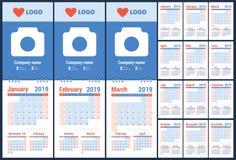 planläggning för 2019 kalender planner Blå färgmall sunday stock illustrationer
