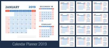 planläggning för 2019 kalender planner Blå färgmall Veckastart stock illustrationer