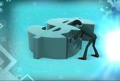 planläggning för man 3d för pengarillustration Fotografering för Bildbyråer