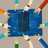 Planläggning för maskinvara för vara värd för rengöringsduk för serverteknologiinfrastruktur som delar lagarbete på papper som se vektor illustrationer