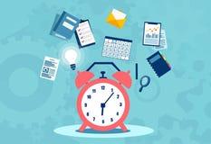 Planläggning för Tid ledning, organisation och arbetande övertidbegrepp vektor illustrationer
