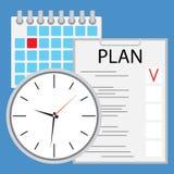 Planläggning och organisation av tidlägenheten Arkivbild