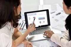 Planläggningen för affärsstrategi, affärskvinnor diskuterar och granskar datadokument arkivfoto