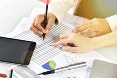 Planläggningen för affärsstrategi, affärskvinnor diskuterar och granskar skrivbordsarbetedatadokument arkivbilder