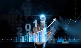 Planläggningsaffär för nytt år 2019 och finansiellt begrepp arkivbild