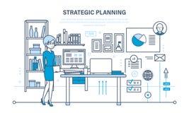 Planläggningsstrategi, marknadsföringsstrategi Investeringtillväxt, ledning, planläggningsprocess, möte royaltyfri illustrationer