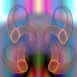 Planlös grafisk sammansättning med spirala beståndsdelar på färg tillbaka Arkivbild