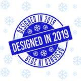Planlagt i den 2019 skrapade runda stämpelskyddsremsan för nytt år vektor illustrationer