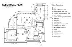 Planledningsnätbelysning Inre för elektriskt schema Uppsättning av standarda symbolsströmbrytare, elektriska symboler för ritning royaltyfri illustrationer