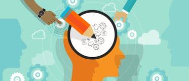 Planlägg tänkande den idérika klottra för idé för huvud för kreativitet för processmening hjärnan lämnat högert Arkivfoto