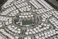Planned Community. Aerial view of a a planned residential community around recreational facilities stock image