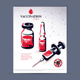 Planned immunization flyer template. Vector illustration of disp. Osable syringe, bottle and ampoule with medicine  on white background Royalty Free Stock Photography