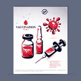 Planned immunization flyer template. Vector illustration of disp. Osable syringe, bottle and ampoule with medicine isolated on white background Stock Image