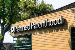 Planned Parenthood logo. August 7, 2018 Mountain View / CA / USA - Planned Parenthood logo on one of their centers in south San Francisco bay area royalty free stock photos
