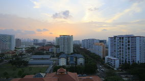 Planned Public Housing Development in Eunos District in Singapore at Sunset Timelapse