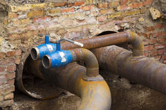 Planned repairs of municipal tubing Royalty Free Stock Images