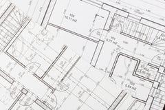Plannen van de bouw Architecturaal project Het vloerplan ontwierp het voortbouwen op de tekening royalty-vrije stock afbeelding