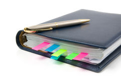Daily planner. With colored bookmarks. White background Stock Image