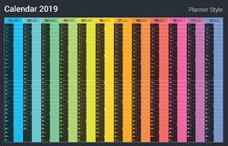 Free Planner 2019 Calendar Design. Vector Full Color Style. Sunday Weekend. Royalty Free Stock Images - 127861959