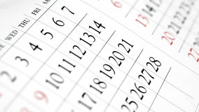Daily planner - Calendar close up perspective view. Daily Planner - close up shot of open calendar with date and days Royalty Free Stock Image