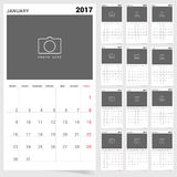 Planner calendar january 2017 design illustration Royalty Free Stock Image