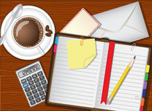Daily planner, coffee and stationery Stock Images