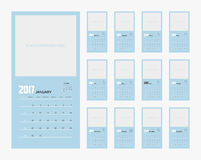 2017 Planner Design. 2017  Calendar Planner Design of illustrator Stock Image