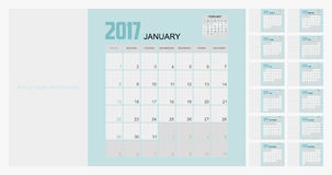 2017 Planner Design. 2017  Calendar Planner Design of illustrator Royalty Free Stock Image