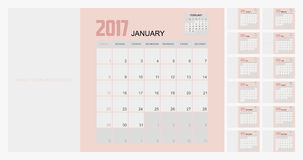 2017 Planner Design. 2017  Calendar Planner Design of illustrator Royalty Free Stock Photos
