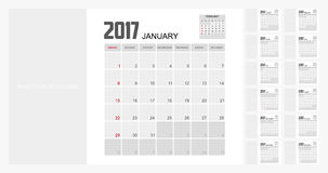 2017 Planner Design. 2017  Calendar Planner Design of illustrator Stock Images